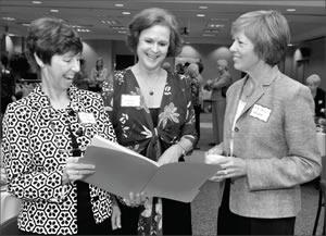 Dale Clifford, Lindsay Helms, Helen Short look at grants in November 2009
